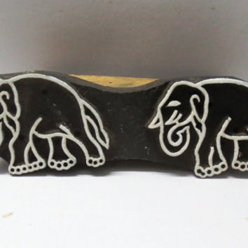 Indian wooden hand carved textile printing on fabric block / stamp fine Twin Elephant Border strip pattern