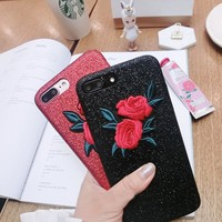 Fashion Elegant Embroidered Rose Flower Case For iPhone