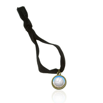 Sporty Volleyball Stretchy Elastic Hair Tie w- Brass Charm