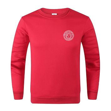 Versace New fashion bust side human head print long sleeve top sweater Red