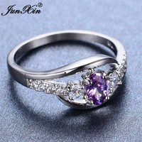 JUNXIN Elegant Purple Amethyst Oval Ring Fashion Jewelry White Gold Filled Vintage Wedding Engagement Rings For Men And Women