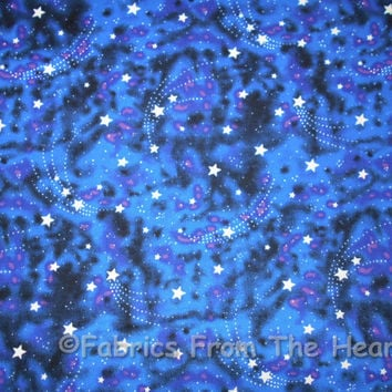 Glow in the Dark Stars Night sky on Blues  BY YARDS Michael Miller COTTON Fabric