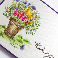 Watercolor Card, Handpainted Card, Pot of Flowers Card, Summer Flowers