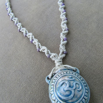 Clay Om Bottle with Glass Hemp Macrame Necklace - Natural Hippie Bohemian