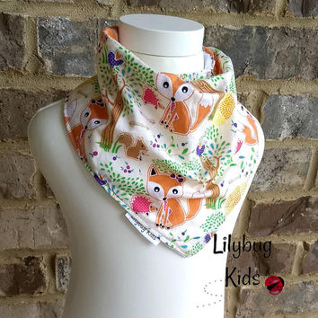 Fox bandana bib, drool bib, adjustable baby bib, infant bib, baby shower gift, woodland bib, ready to ship, forest animals, arrows, hedgehog