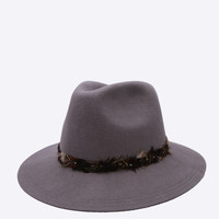 Grey Wide Brim Wool Hat