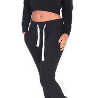 Womens Yasmin Black Hangover Cropped Hooded Top (Mtc)