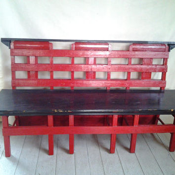 Bench  made from vintage chairs and a fireplace  mantle top, red and black, sugarhouse style .park bench ,garden bench, patio,firehouse
