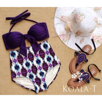Purple Top & Tribal Print High Waist Bikini! LIMITED EDITION!