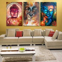 3 Panel Buddha Image Portrait Art Wall Art Picture Home Decoration Living Room Canvas Print Wall Picture Printing On Canvas