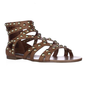 Steve Madden Culver Jeweled Gladiator Flat Sandals - Cognac