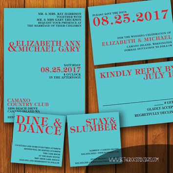 Modern Wedding Invitation / Simple Wedding Suite / Text Invitation Suite / Modern / Simple / Wedding Invitation Suite / Turquoise / Red