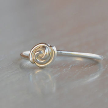 Sterling Silver Ring Stacking Ring - Rose Bud Ring - Stackable Ring - Silver Ring Unique Gifts for Women