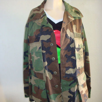 vintage green camo Green army navy jacket coat women large medium  coachella hipster xs-3x plus