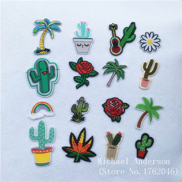 1Pc Plants Cactus Rose Patch for Clothing Iron on Embroidered Applique Cute Patch Fabric Badge Garment DIY Apparel Accessories