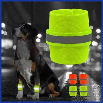 2pcs Reflective Wrist Band For Dog Pets Safety Leg Wraps Glow In The Dark Dogs Walking Legs Bands High Visibility Pet Supplies