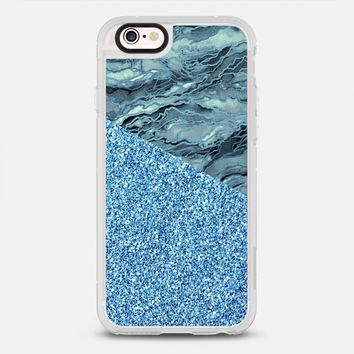 MARBLE IDEA - BLUE GREY FAUX GLITTER Watercolor Abstract Painting Marbled Agate Geode Pattern Serenity Chic Girly Glamorous Metallic Sparkle Shimmer Glam Modern Trendy Elegant Art Design iPhone 6s case by Ebi Emporium | Casetify