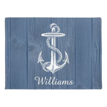 Anchor Beach Blue Wood Personalized Doormat
