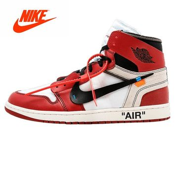 Original New Arrival Authentic Nike Air Jordan 1 Off-White AJ1 Limited Edition Men's Basketball Shoes Sport Sneakers AA3834-101