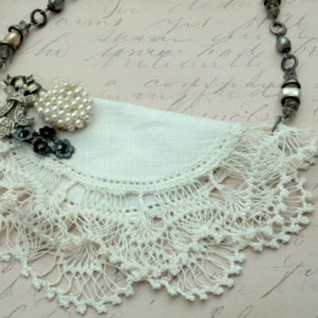 Bib Statement Necklace, White Bib Necklace, Pearl Beaded Necklace, Anthropologie Inspired Necklace, Lace Dollie Necklace