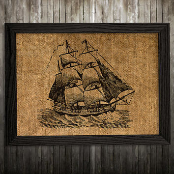 Nautical print Ship poster Burlap print Maritime art BLP939