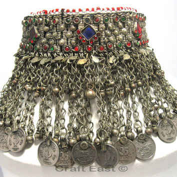 FREE SHIPPING - Vintage Afghan Kuchi Tribal Choker Necklace, Turkmen Neclcace Jewelry,Antique Afghan Necklace Jewelry,Alpaca Silver,Handmade