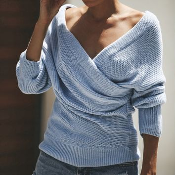 AVODOVAMA M Sexy V Neck Cross Knitted Sweater Women Pullover Hollow Out 2018 Winter Sweaters Backless Streetwear Jumper