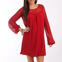 Chevron Sleeves Dress, Red