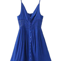 Blue V-neck Lace Panel Button Up Front Cami Dress
