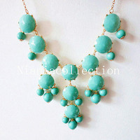 SALE Aqua/Turquoise Bubble Statement  Hollywood elegant Necklace-mint green