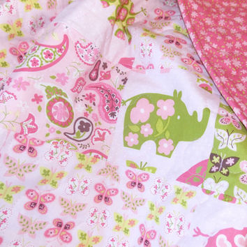 Pink Animal Parade Baby Girl Quilt Blanket