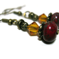 Rustic Red and Orange Beaded Earrings Antiqued Gold Plated Dangle Drop Czech And Swarovski Crystal Retro Style Womens Boho Jewelry