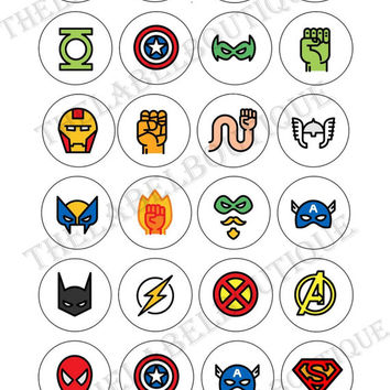 Superheroes Themed Cupcake  Collage Sheet /you will get it in 3 sizes/ circle   Printable Download cake cupcake topper, cards, scrapbook