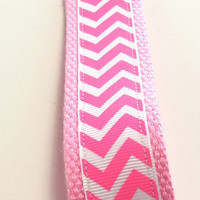Pink Wristlet Key Chain Key Ring Key Fob Chevron Stripe