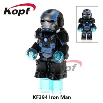 Single Sale Ironman Super Heroes Custom Armored Iron Man Suit War Machine Inspired Building Blocks Toys for children KF394