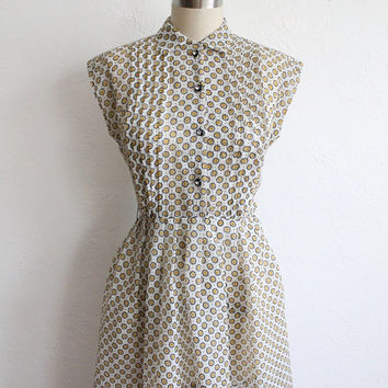 ON SALE Vintage 50s Sheer Chiffon Polka Dot Collared Dress // Extra Small XS