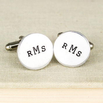Custom Monogram Cuff Links - Gifts for Him - Personalized Gifts - Wedding Accessories - Aluminum Cuff Links