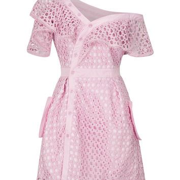 Pink Cutwork Lace Asymmetric Frill Skater Dress