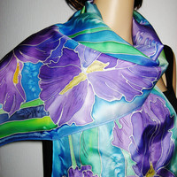 IRISES Hand Painted SILK SCARF by SilkMagic on Etsy