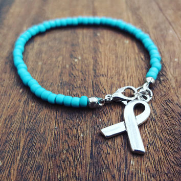 Teal Beaded Awareness Bracelet // Gorgeous Matte Teal Seed Beads // Sterling Silver Awareness Ribbon Charm // Interstitial Cystitis