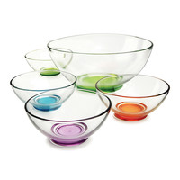 Circle Glass Five-Piece Assorted Colors Bowl Set | zulily