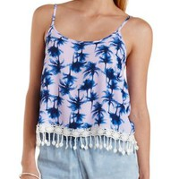 Purple Combo Fringe-Trim Tropical Print Tank Top by Charlotte Russe