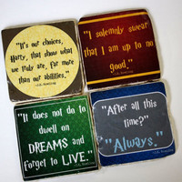 Harry Potter - JK Rowling Literary Quote Coasters.