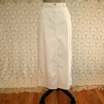 Long Corduroy Skirt Maxi Skirt Cream Skirt Beige Skirt Pencil Skirt Medium Womens Skirts Size 8 Skirt Size 10 Skirt Womens Vintage Clothing