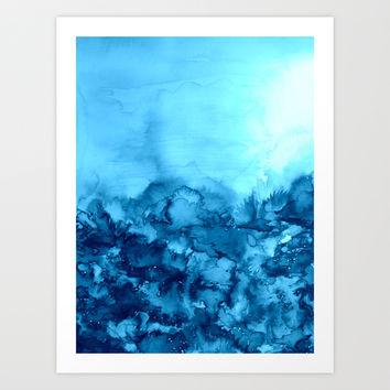 INTO ETERNITY, TURQUOISE Colorful Aqua Blue Watercolor Painting Abstract Art Floral Landscape Nature Art Print by EbiEmporium