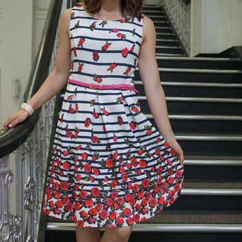 Striped Floral Fit & Flare Dress
