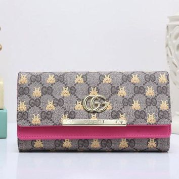 DCCK GUCCI Bee Women Fashion Embroidery Leather Buckle Wallet Purse7