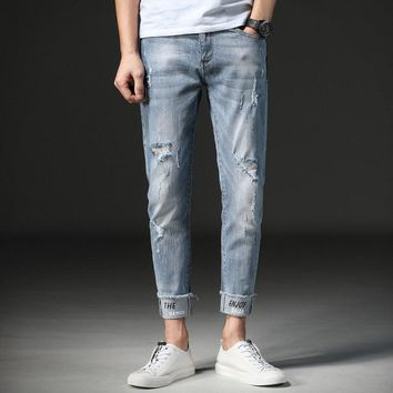 Men Jeans Ankle-Length Skinny Stretch Hole Ripped Retro Casual Men Denim Jeans Distressed Solid Cuffs Letter Men  Pencil Pants