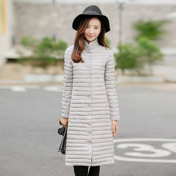 The New 2016 Winter Long Over-the-knee Collar Single-breasted Thin Coats Cotton Dress Coat Winter Jacket Women Plus Size