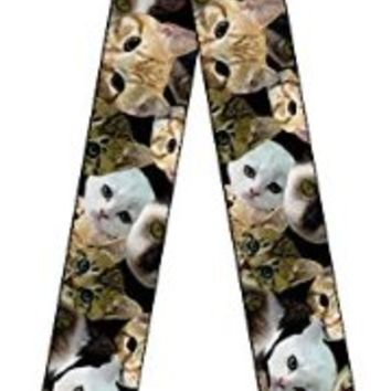 Kitten Faces Scattered Adjustable Guitar Strap